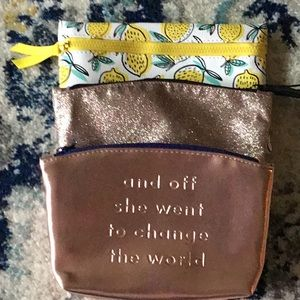 Ipsy Cosmetic Bags Set Of 3